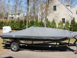 Boat with cover installed