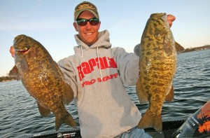 big smallmouth bass from deep clear water